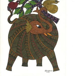Elephant and the tree, Ready-to-frame Gond Painting from Madhya Pradesh