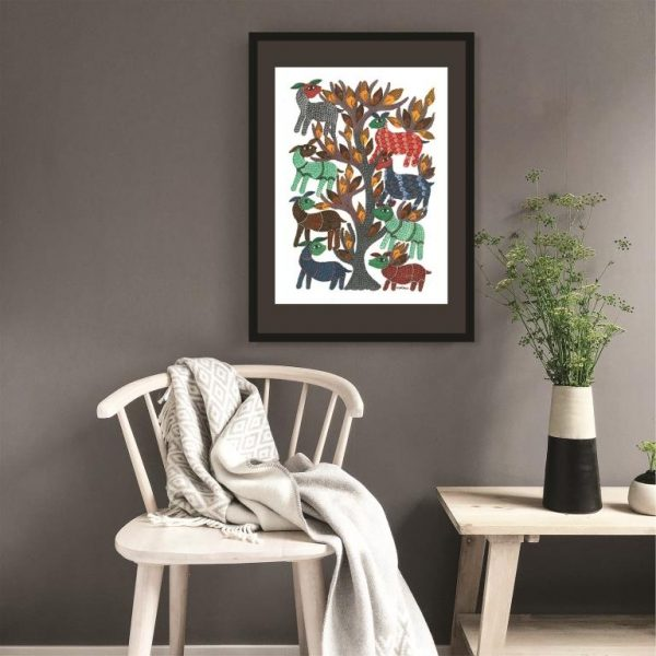 Gond painting-Ready to frame-Madhya Pradesh-a deer party