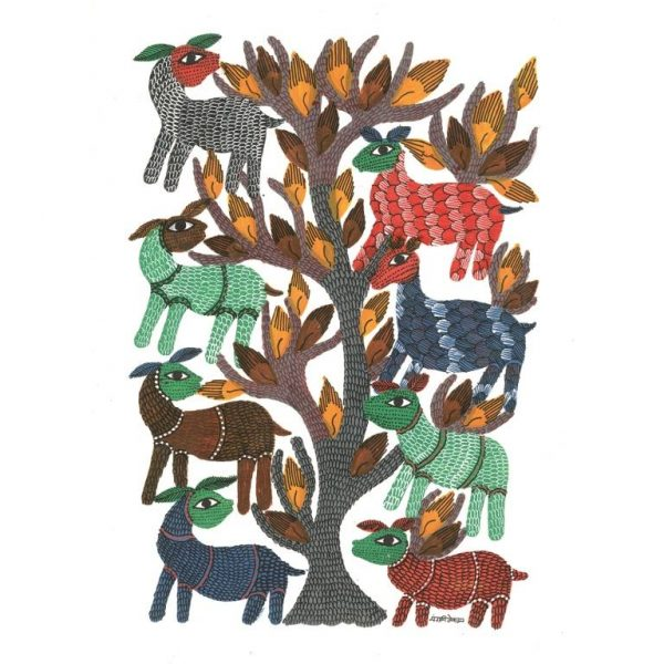 Gond painting-Ready to frame-Madhya Pradesh-a deer party-closeup
