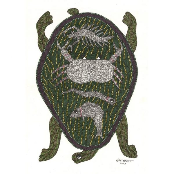Gond painting-Ready to frame-Madhya Pradesh-a pond in a tortoise-closeup