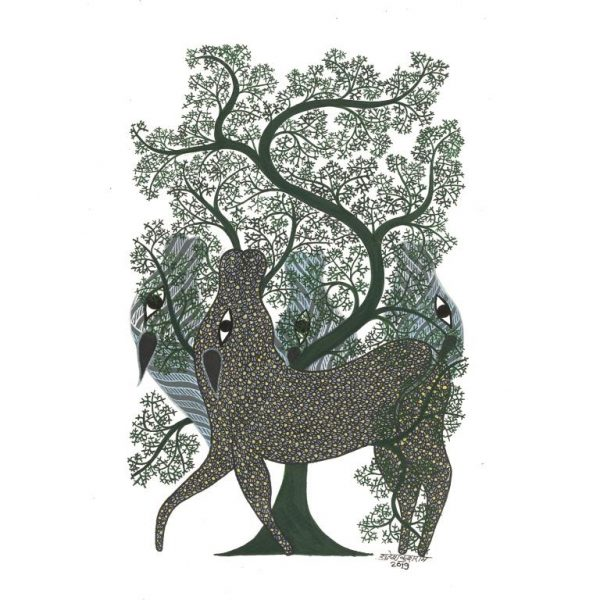 Gond painting-Ready to frame-Madhya Pradesh-an animals and its soul-closeup