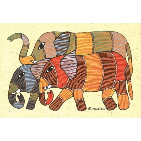Gond painting-Ready to frame-Madhya Pradesh-an elephant herd-closeup