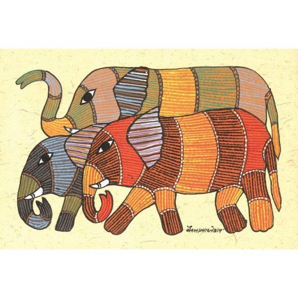 Gond painting-Ready to frame-Madhya Pradesh-an elephant herd-closeup