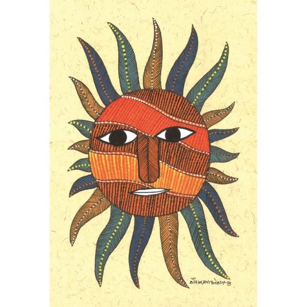 Gond painting-Ready to frame-Madhya Pradesh-colourful sun with a face-closeup