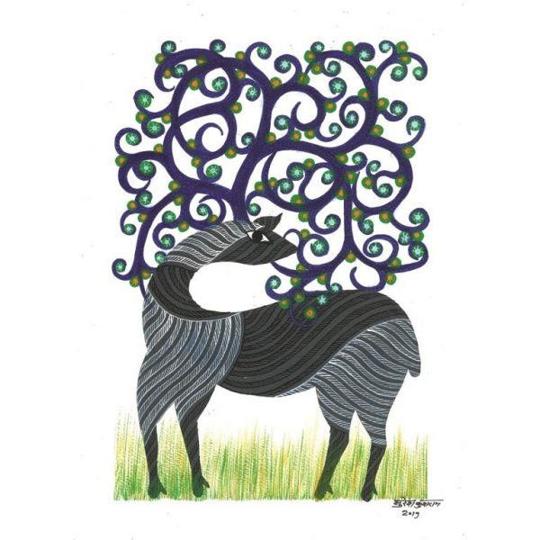 Gond painting-Ready to frame-Madhya Pradesh-deer with tree horns-closeup