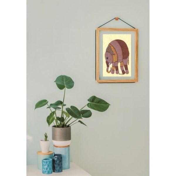 Gond painting-Ready to frame-Madhya Pradesh-elephant
