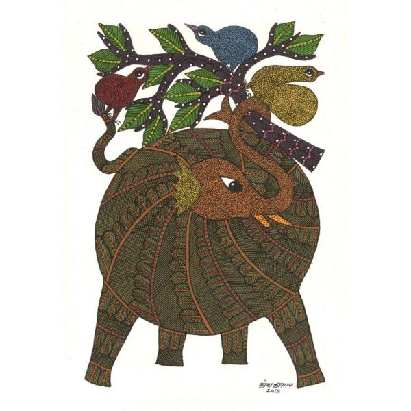 Gond painting-Ready to frame-Madhya Pradesh-elephant and the tree-closeup