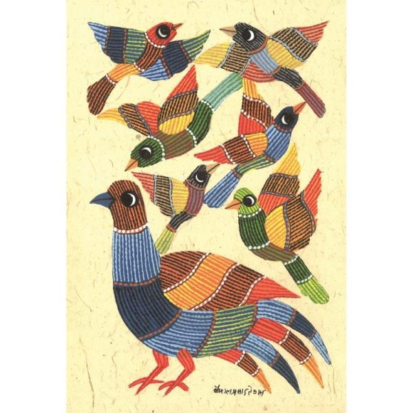 Gond painting-Ready to frame-Madhya Pradesh-flock of birds-closeup
