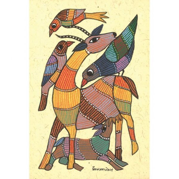 Gond painting-Ready to frame-Madhya Pradesh-mother deer-closeup