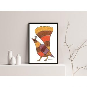 Gond painting-Ready to frame-Madhya Pradesh-orange bird