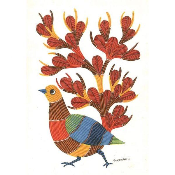 Gond painting-Ready to frame-Madhya Pradesh-orange bird and tree-closeup