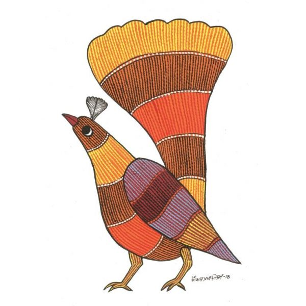 Gond painting-Ready to frame-Madhya Pradesh-orange bird-closeup