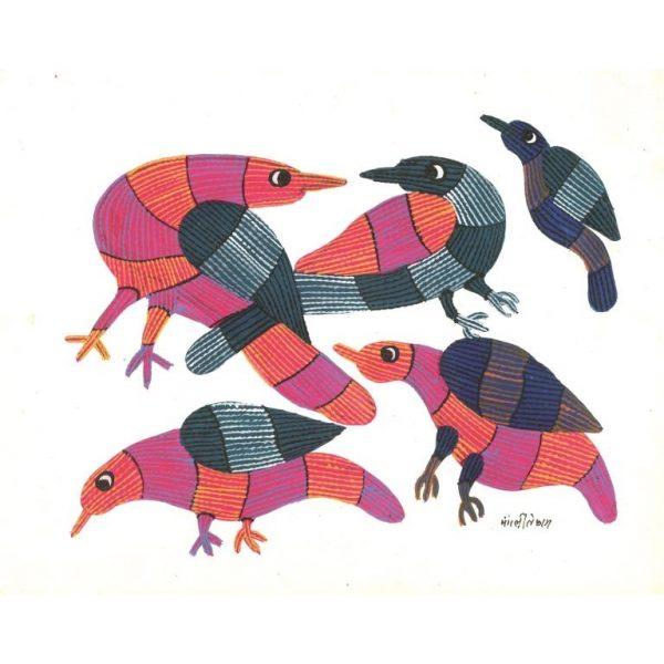 Gond painting-Ready to frame-Madhya Pradesh-pink birds-closeup