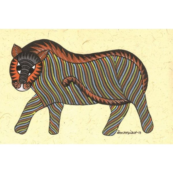 Gond painting-Ready to frame-Madhya Pradesh-tiger on the prowl-closeup