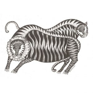 Gond painting-Ready to frame-Madhya Pradesh-tigers in black and white-closeup