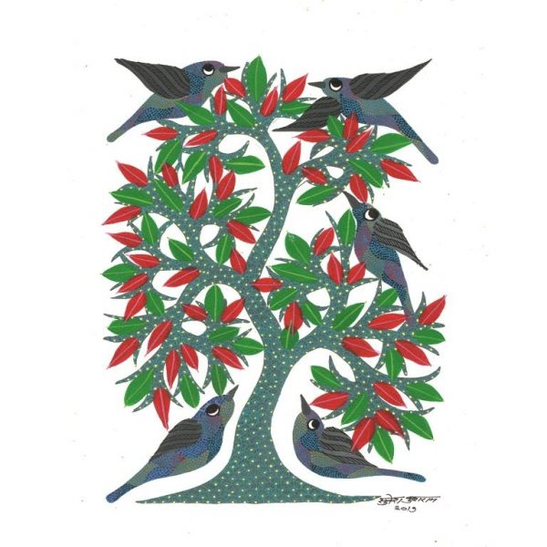 Gond painting-Ready to frame-Madhya Pradesh-tree of life-red berries-closeup