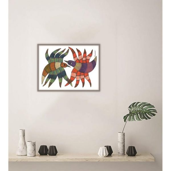 Gond painting-Ready to frame-Madhya Pradesh-two birds facing each other