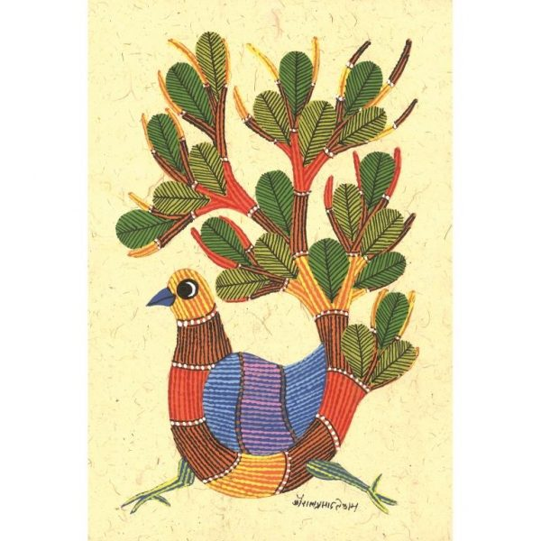 Gond painting-Ready to frame-Madhya Pradesh-colourful bird with plumage of a tree-closeup