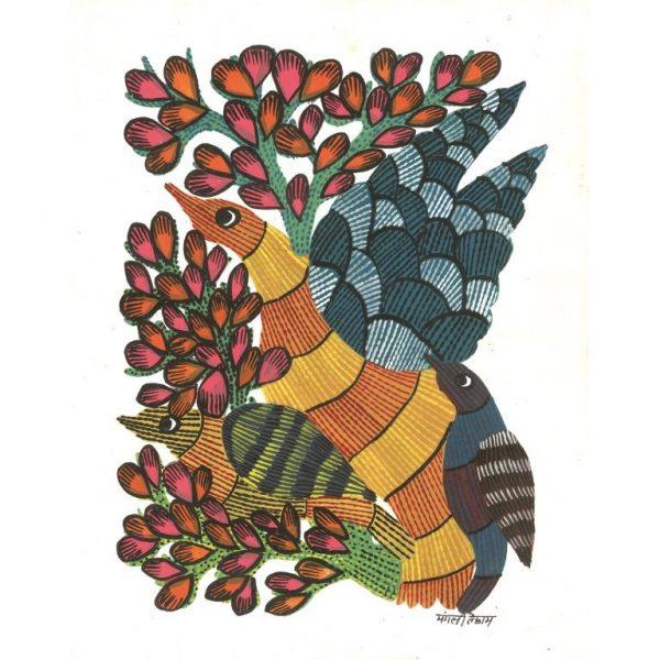 Gond painting-Ready to frame-Madhya Pradesh-flock of birds-closeup