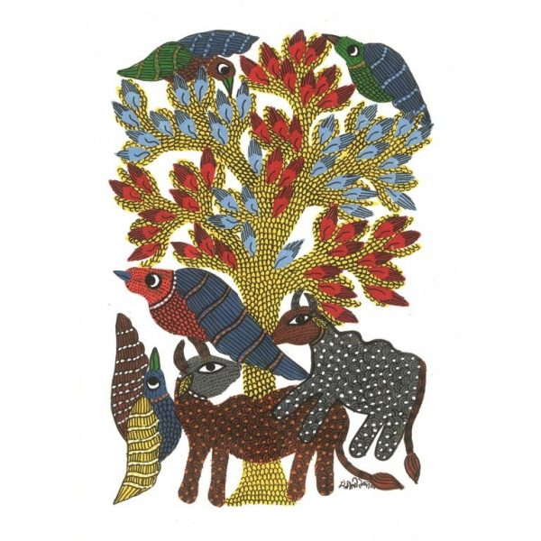 Gond painting-Ready to frame-Madhya Pradesh-forest life-closeup