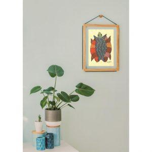 Gond painting-Ready to frame-Madhya Pradesh-nested tortoises-many colours-handmade paper